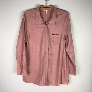 Joie Cotton Button Down Tunic Pink Shirt L 345